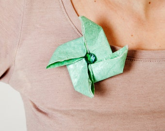 Free Shipping eco friendly gift Origami brooch wind wheel pin mint green.