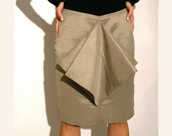 Grey metallic skirt pleated formal wear. size medium large