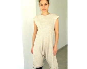 Eco friendly cream oatmeal jumpsuit bodysuit overall. ready to ship