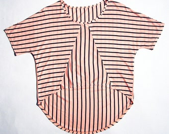 Stripe short front shirt eco friendly chevron geometric