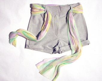 SALE Summer shorts grey with pastel silk scarf -Ready to ship