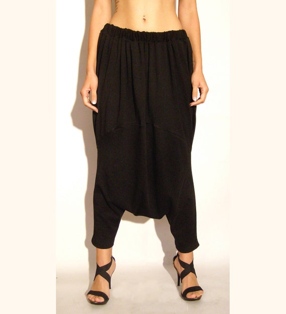 Harem baggy pants black jersey one size upcycled