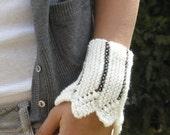 white wristband cuff handmade knit