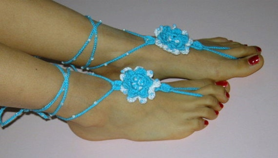 Barefoot SandalsTurquoise blue ,white READY TO SHIP