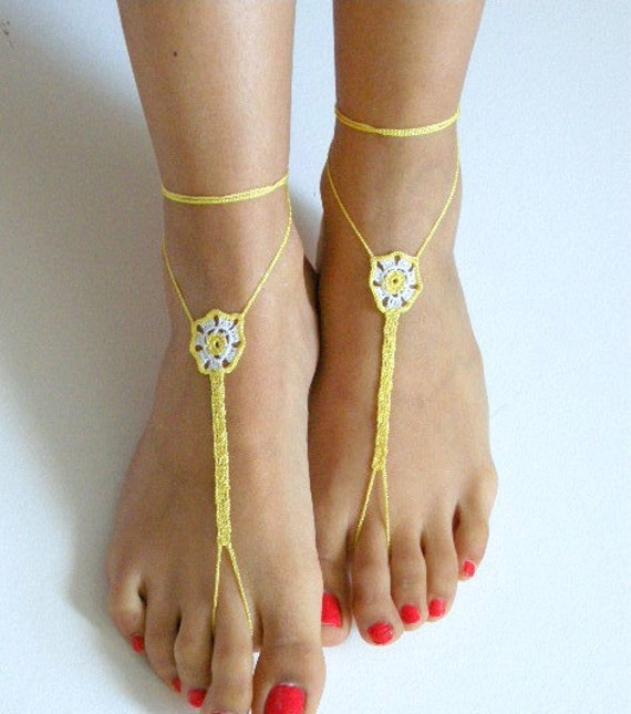 Barefoot Sandals, white,yellow, READY TO SHIP
