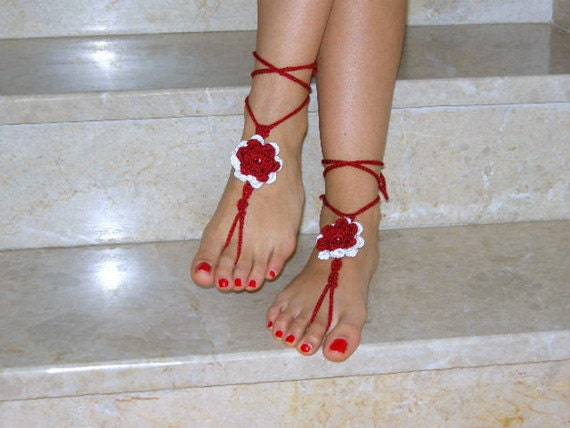 Barefoot Sandals red and white READY TO SHIP