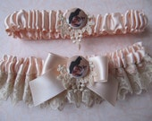 Wedding Garter SET Vintage style, peachy pink silk, vintage french lace, French kittens adornment, lacey applique, vintage weddings
