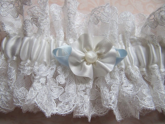 Bridal Garter Vintage white lace White silk satin Something Blue Ribbonwork rosette and Mother of pearl button