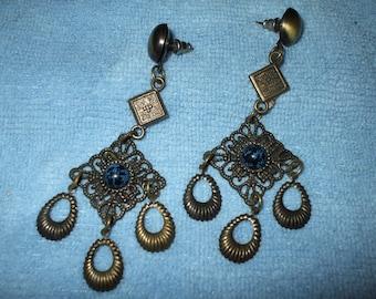 Earrings Victorian Filigree Boho Dangle Drop Antique Style Brass Tone Bohemian  Faux Turquoise Vintage Pierced