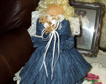 Christmas Angel Doll, Handmade Paper Country Victorian Shabby Dark County Blue Dress Vintage