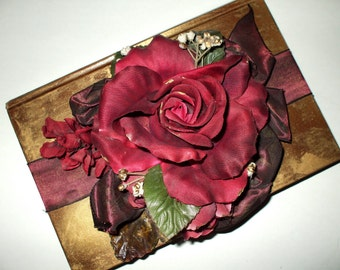 Decorative Book Silk Rose Ribbons Hand Painted Ornate Antique Shabby Victorian Vintage Decor Upcycled