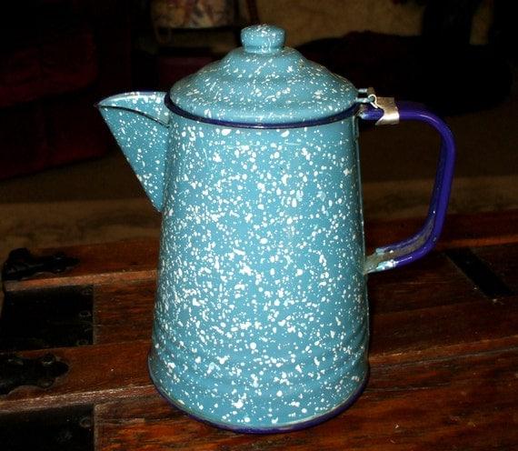 Vintage Coffee Pot Enamelware Graniteware Spatterware Blue and White