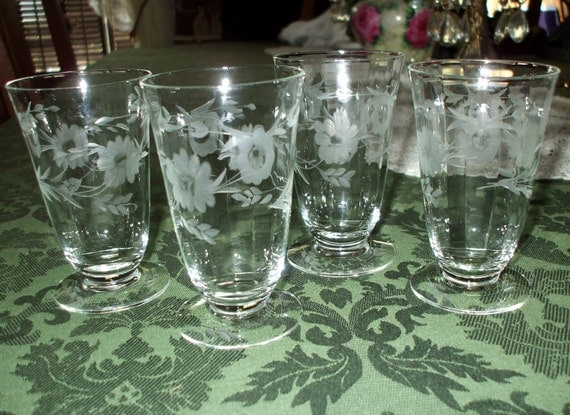 Crystal Stemware Juice Glasses Etched Floral Leaves Vintage Antique Set of Four 'Seneca' SALE