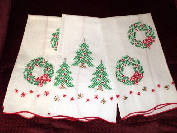 Christmas Hand Towels Guest Handmade Cross Stitch Embroidery Kitchen Bath Trees Wreaths Vintage 1970's SALE