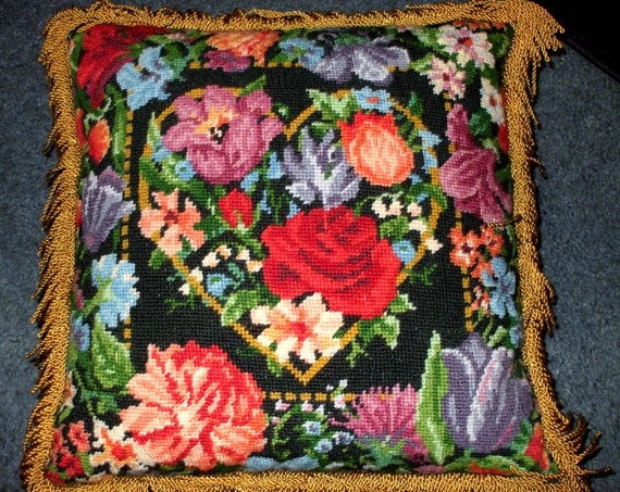 Needlepoint Pillow Handmade Ornate Colorful Floral Roses Heart Gold Trim Vintage SALE