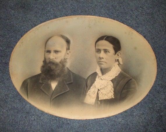 Large Antique Portrait Couple Unframed Hand Painted Instant Ancestors