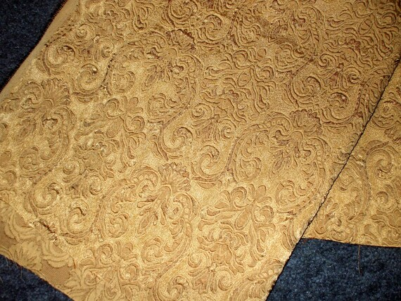 Fabric Antique Gold Damask Textured Home Upholstery Gorgeous