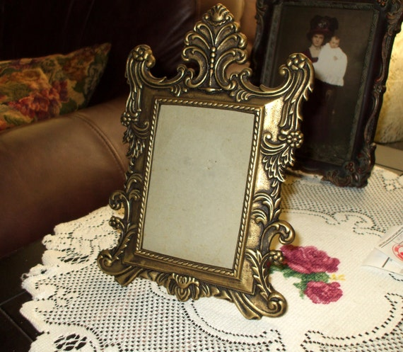 Ornate Rococo Frame Victorian Style Antique Brass Finish Vintage SALE