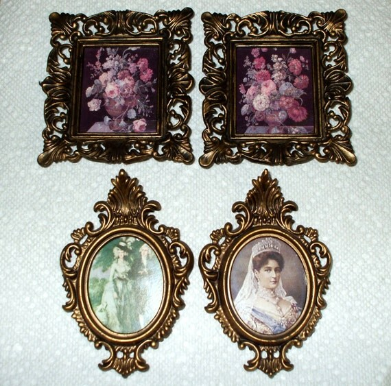 Frames Victorian Style Set of Four Antique Gold Ornate Vintage Two Ovals Two Rectangles