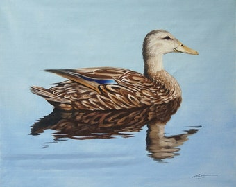 Mallard Female Duck wildlife painting 20x24 oils on canvas by RUSTY RUST / D-93