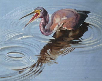 Tri-Colored Heron wildlife painting 20x24 oils on canvas by RUSTY RUST / H-65