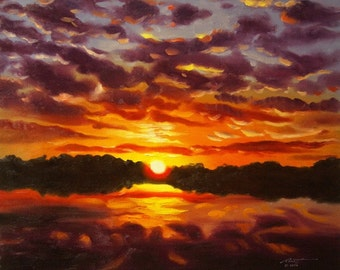 Sunset landscape painting 20x24 oils on canvas by RUSTY RUST / L-116