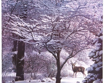 Winter Dogwood deer l-e print heavy acid-free paper 27x20 by RUSTY RUST