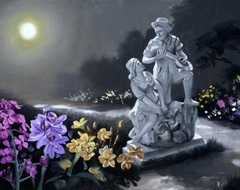 Moonlight Serenade statue flowers 24x36 oils on canvas painting by RUSTY RUST / M-193