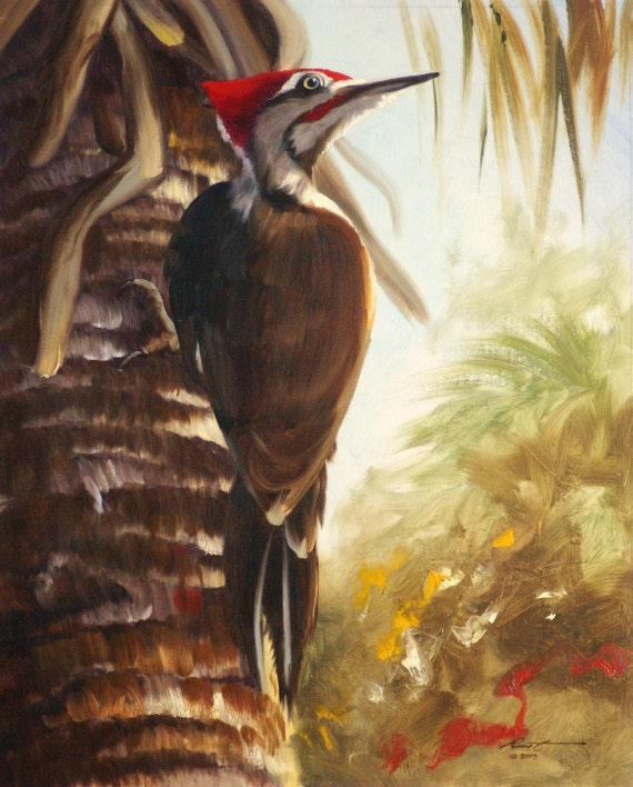Pileated Woodpecker 20x16 wildlife painting by RUSTY RUST