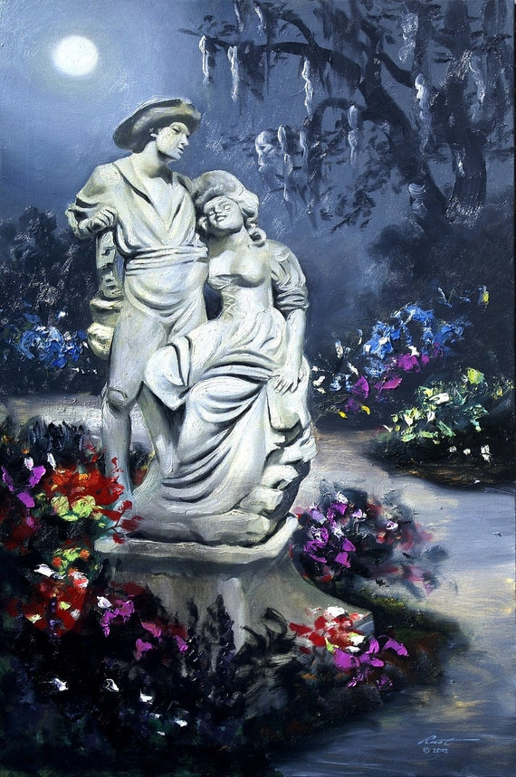 Garden Statue moonlight 36x24 oils on canvas painting by RUSTY RUST / M-189