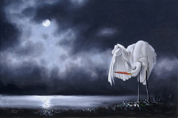 Great White Egret wildlife bird Moonlight 24x36 oils on canvas painting by RUSTY RUST / E-137