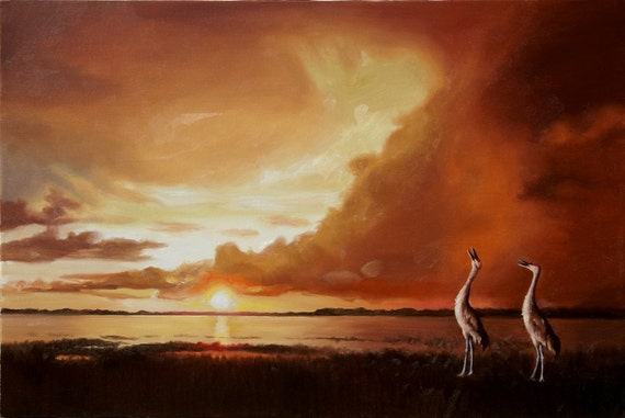 Sandhill Cranes wildlife bird landscape scenery 24x36 oil painting by RUSTY RUST / C-95