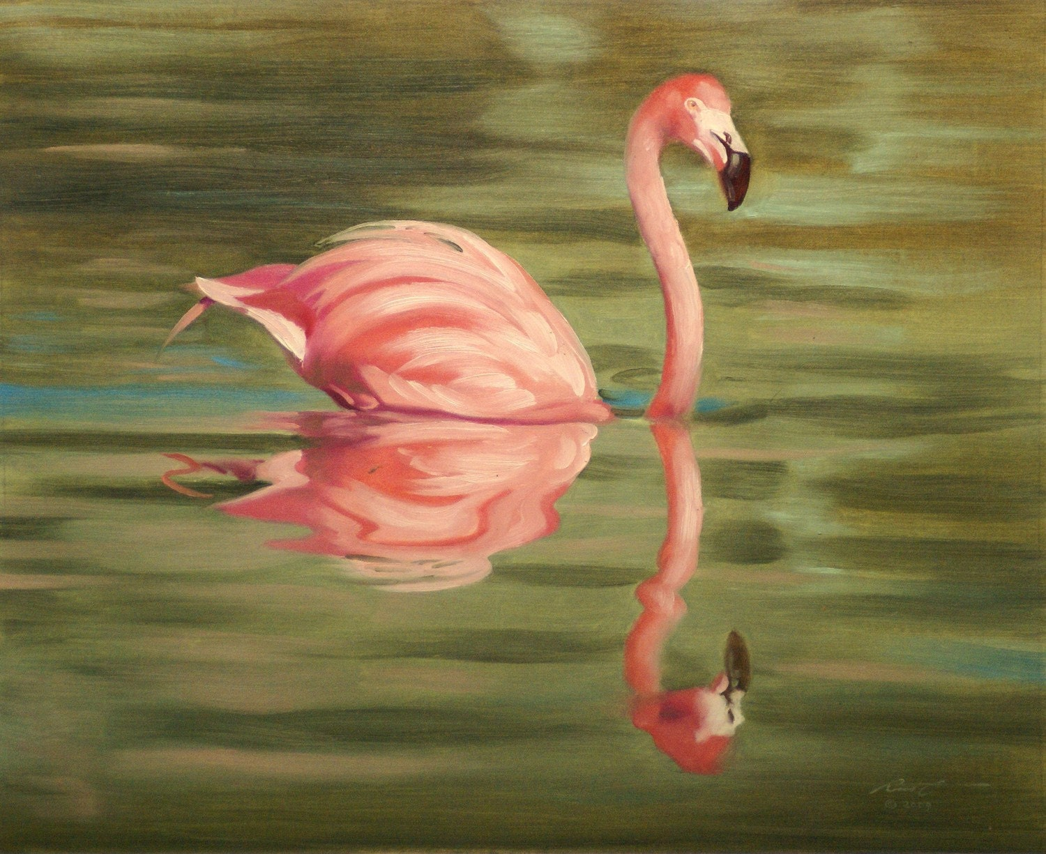 Flamingo oil on canvas 16x20 wildlife painting by by rustyart