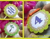 Luau Birthday Party Circles. cupcake toppers