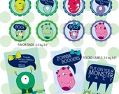 Monster ball birthday party favor tags/ thank you cards