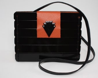 Handcrafted Wood and Leather Purse - Black & Orange
