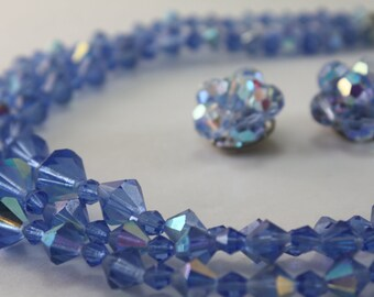 Vintage Blue Crystals Necklace and Earring Set