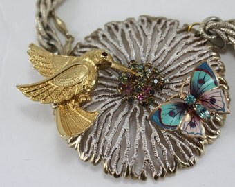 Vintage Assemblage Necklace With Hummingbird And Butterfly Brooches Handcrafted OOAK