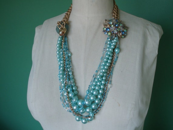 Handcrafted Multi Strand Statement Necklace - Caribbean Dreams