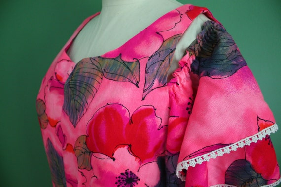 Reserved For Kristine - Vintage 70s Original Lauhala Vibrant Hawaiian Maxi Dress In Pinks & Reds