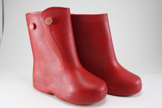 Vintage 1950s Childs Red Rubber Boots