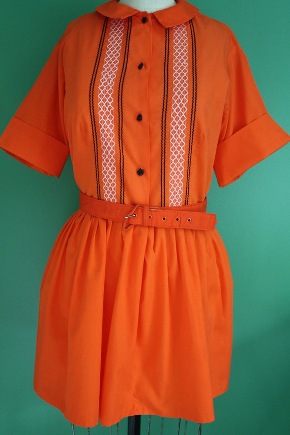 Vintage 1950's - 1960's Orange, Black and White Shirt Dress