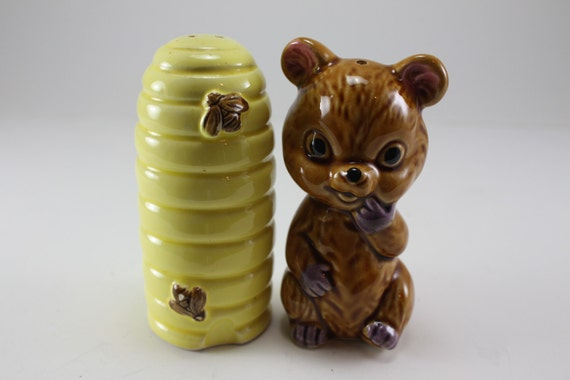Vintage Honey Bear and Bee Hive Salt and Pepper Shakers 1950's 1960's
