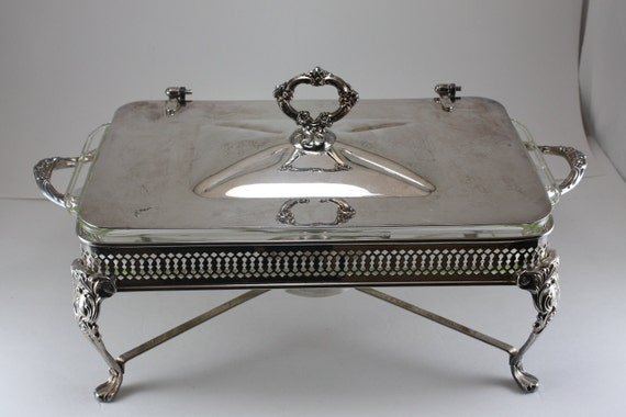 Fire King Silverplate Covered Chafing Casserole Dish