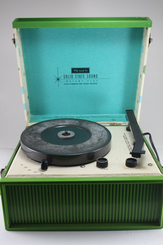 portable record player sears green polka dot by cybersenora