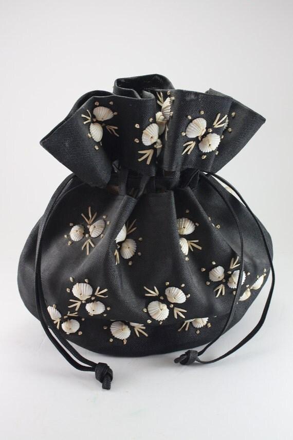 Vintage Straw Handbag Drawstring With Natural Shells