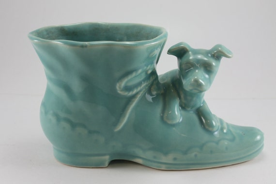 Vintage Ceramic Pottery Dog And Shoe Planter Aqua Shawnee