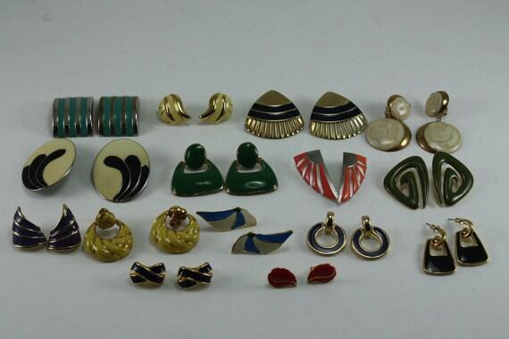 Vintage 80s Earrings Enameled Destash 15 Pairs