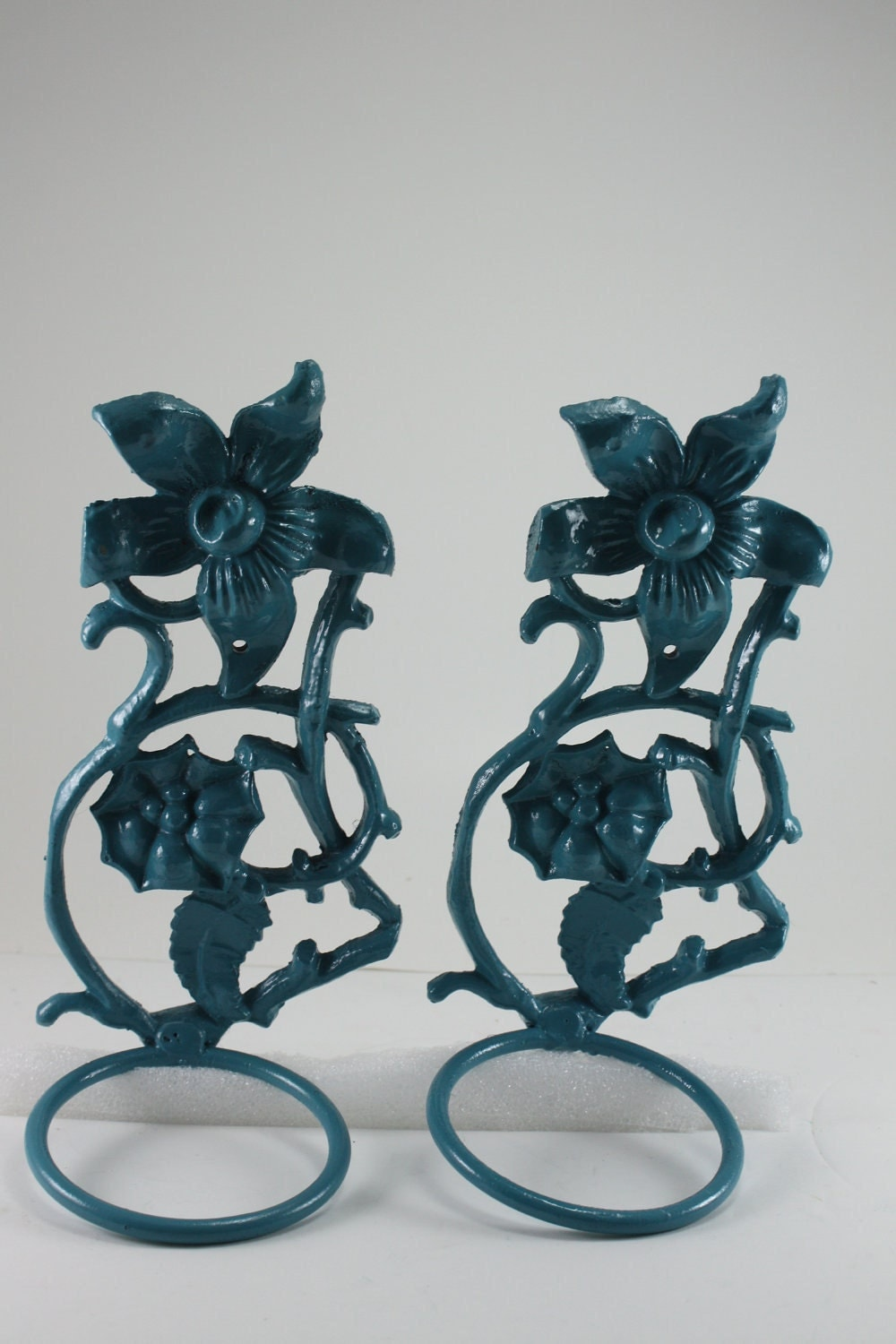 Wall Sconce Plant Holder : Vintage Metal Wall Sconces Planter Pot Holders Aqua by cybersenora