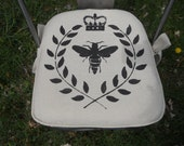 Chair Pad - Made To Order Chair Pad (Cotton)  - Bee with Wreath, French Script. 22 L X 22 W or within